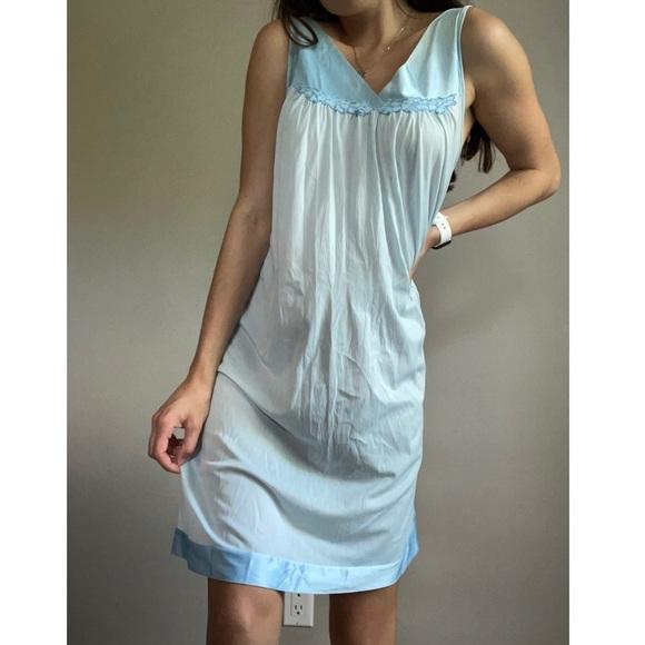 Vintage Satin Baby Blue Nightgown